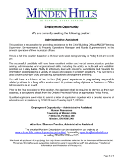 Employment Opportunity – Administrative Assistant