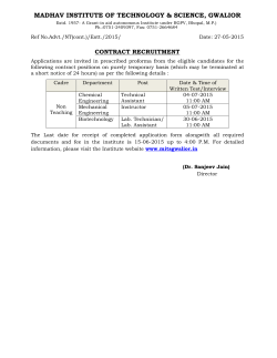 Non Teaching Recruitment on contract basis