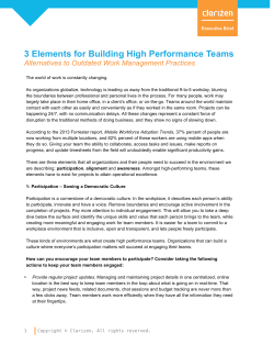3 Elements for Building High Performance Teams