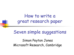 How to write a great research paper Seven