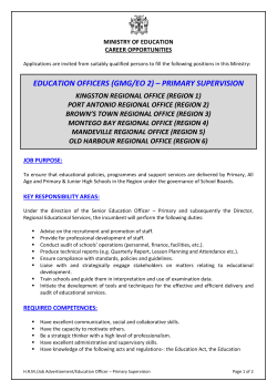 EDUCATION OFFICERS (GMG/EO 2) – PRIMARY SUPERVISION