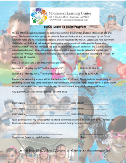 YMCA Learn To Swim Program - Montessori Learning Center