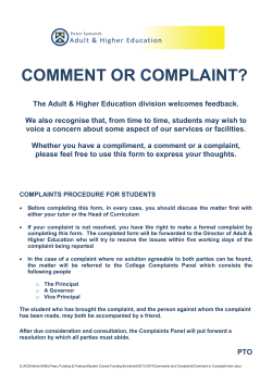 COMMENT OR COMPLAINT? - Peter Symonds College AHED