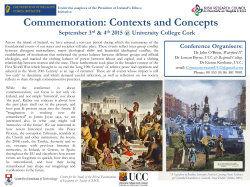 Commemoration: Contexts and Concepts
