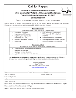Call for Papers Application - Missouri Water Environment Association