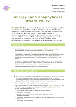 Nairne Preschool Allergy Aware Policy
