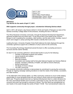 NCN News Top Stories for the week of April 17, 2015 ANU supports
