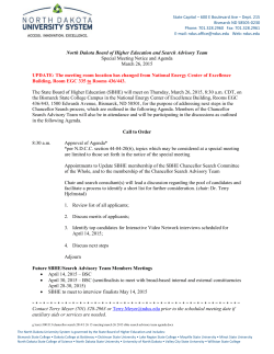 March 26, 2015 SBHE and Search Advisory Team Agenda and