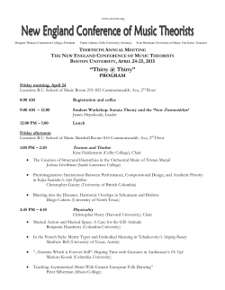 """Thirty @ Thirty"" - New England Conference of Music Theorists"