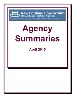 Agency Summaries - New England Consortium of State Labor