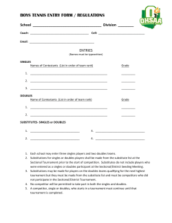 BOYS TENNIS ENTRY FORM / REGULATIONS