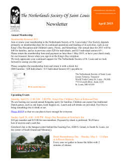 The Netherlands Society Of Saint Louis Newsletter