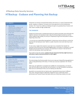 HTBackup -‐ Essbase and Planning Hot Backup