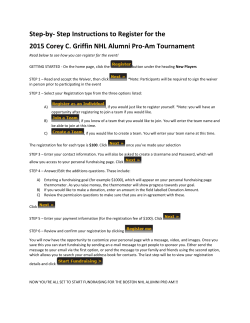 Step-by- Step Instructions to Register for the 2015 Corey C. Griffin