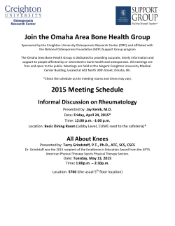 Join the Omaha Area Bone Health Group 2015 Meeting Schedule