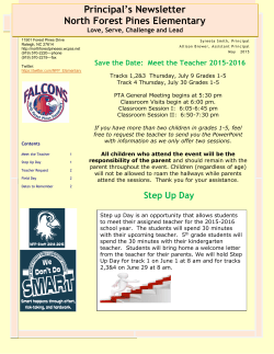Principal`s May Newsletter - North Forest Pines Elementary