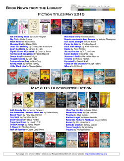 BOOK NEWS FROM THE LIBRARY FICTION TITLES MAY 2015