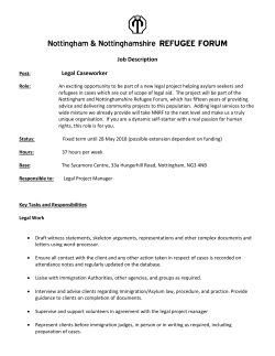 Job Description Legal Caseworker - Nottingham and Notts Refugee Forum