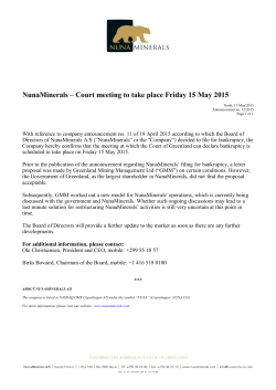 NunaMinerals – Court meeting to take place Friday 15 May 2015