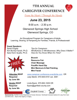 June 23, 2015 7TH ANNUAL CAREGIVER CONFERENCE