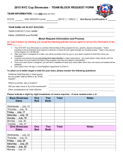 2015 NYC Cup Showcase - TEAM BLOCK REQUEST FORM