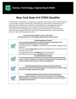 NYS 4-H STEM Checklist  - New York State 4-H