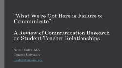 """What We`ve Got Here is Failure to Communicate"": A"