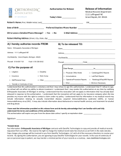 Release of Information - Orthopaedic Associates of Michigan