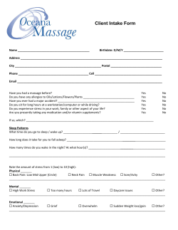 Client Intake Form Oceana Massage