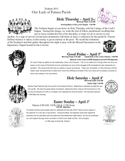 Holy Week Schedule 2015 - Our Lady of Fatima Catholic Church