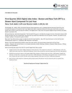 First Quarter 2015 Digital Jobs Index