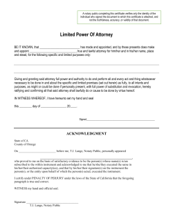 Limited Power Of Attorney - Traveling Mobile Notary Public Service