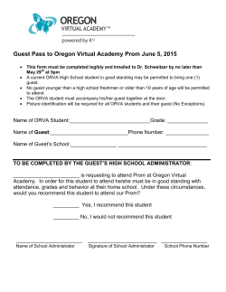 Guest Pass to Oregon Virtual Academy Prom June 5, 2015