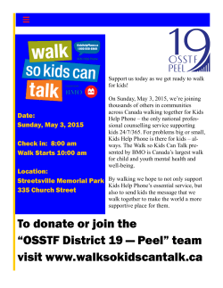 "To donate or join the ""OSSTF District 19 — Peel"" team visit www"