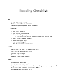 Reading Checklist - Monmouth College