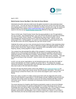 World Ovarian Cancer Day Press Release