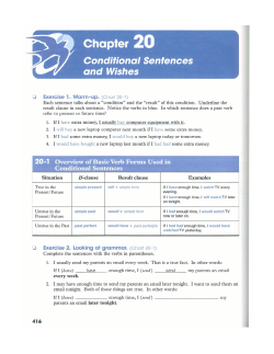 Chapter 2 0 Conditional Sentences and Wishes