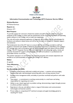 Role Profile Information Communication and Technology (ICT