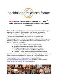 Program - Packbridge Research Forum 2015, May 7 , Lund, Sweden