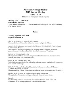 Preliminary Program - Paleoanthropology Society
