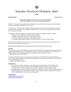 NEWS RELEASE April 28, 2015 Halton Municipalities To Receive
