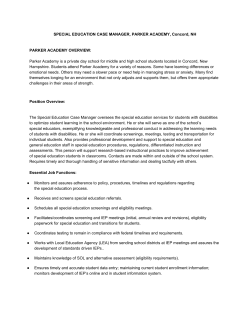 SPECIAL EDUCATION CASE MANAGER, PARKER ACADEMY