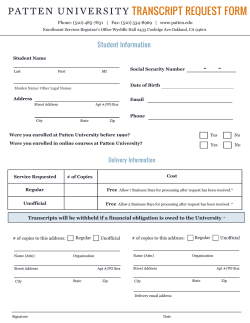 completed Transcript Request form