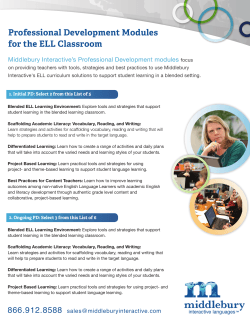 Professional Development Modules for the ELL Classroom