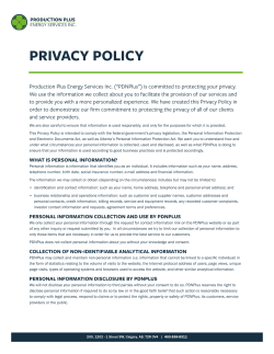 PRIVACY POLICY - Production Plus