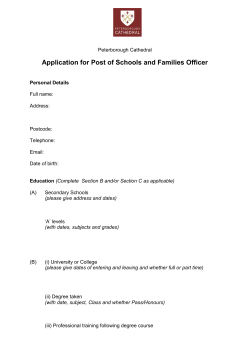 Application for Post of Schools and Families Officer