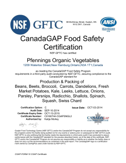 CanadaGAP Food Safety Certification