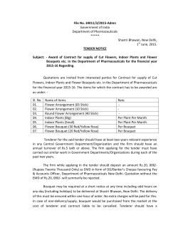 Tender for award of Contract for supply of Cut Flowers, Indoor Plants