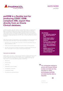 psiODM is a flexible tool for producing CDISC ODM