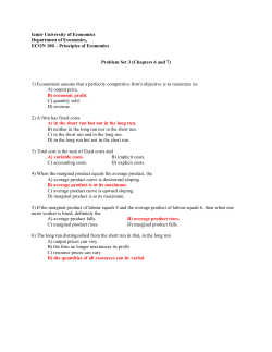 Principles of Economics Problem Set 3 (Chapters 6 and 7) 1